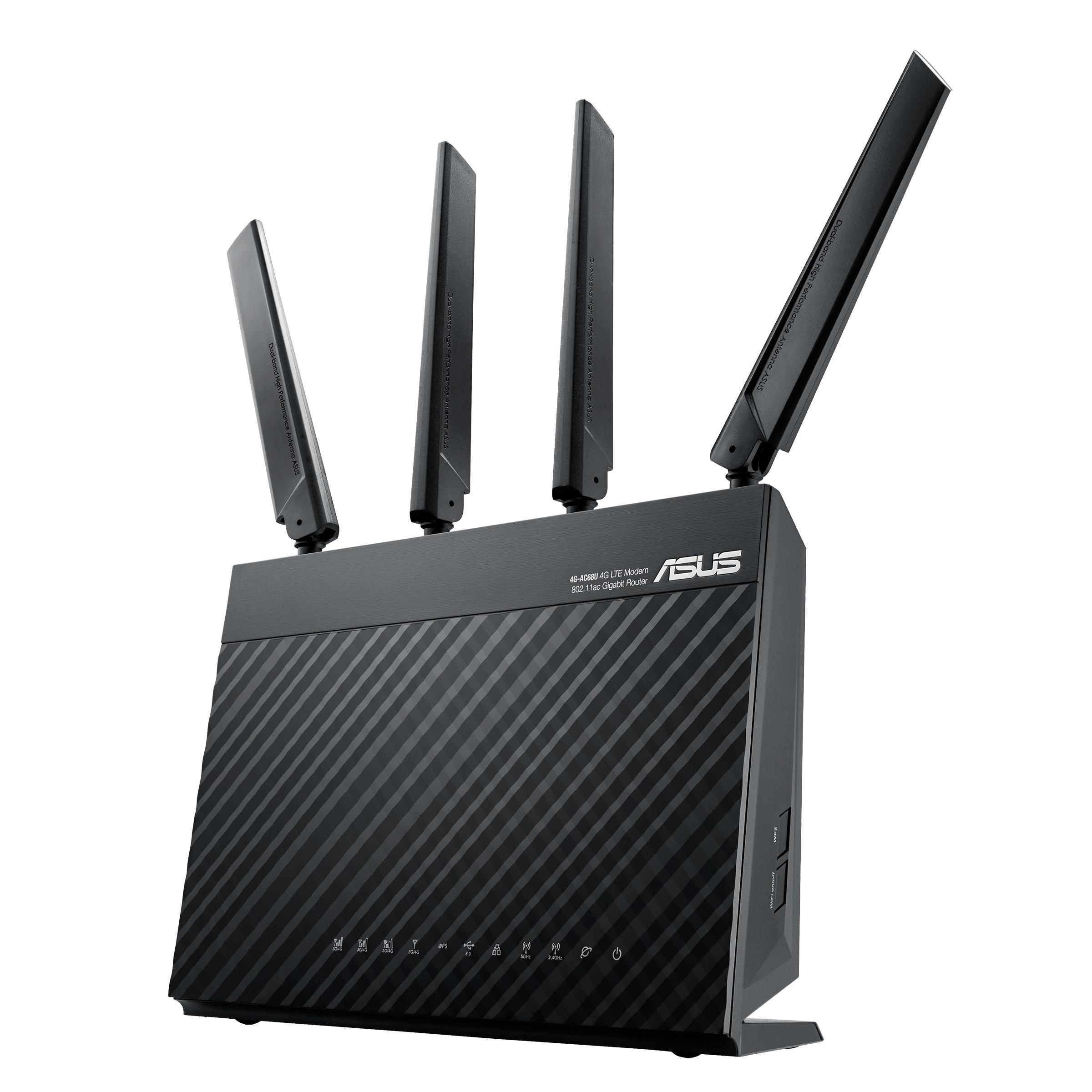 ASUS 4G-AC68U draadloze router Gigabit Ethernet Dual-band (2.4 GHz / 5 GHz) 3G Zwart