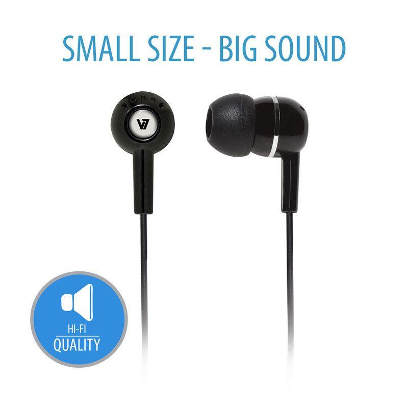 V7 HA100-2EP hoofdtelefoon/headset Hoofdtelefoons In-ear Zwart
