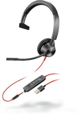 POLY 3315 Headset Hoofdband 3,5mm-connector USB Type-A Zwart