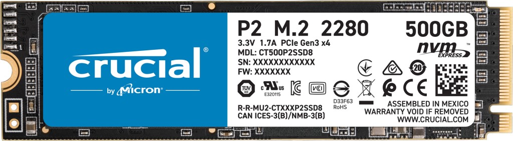 Crucial P2 M.2 500 GB PCI Express 3.0 3D NAND NVMe