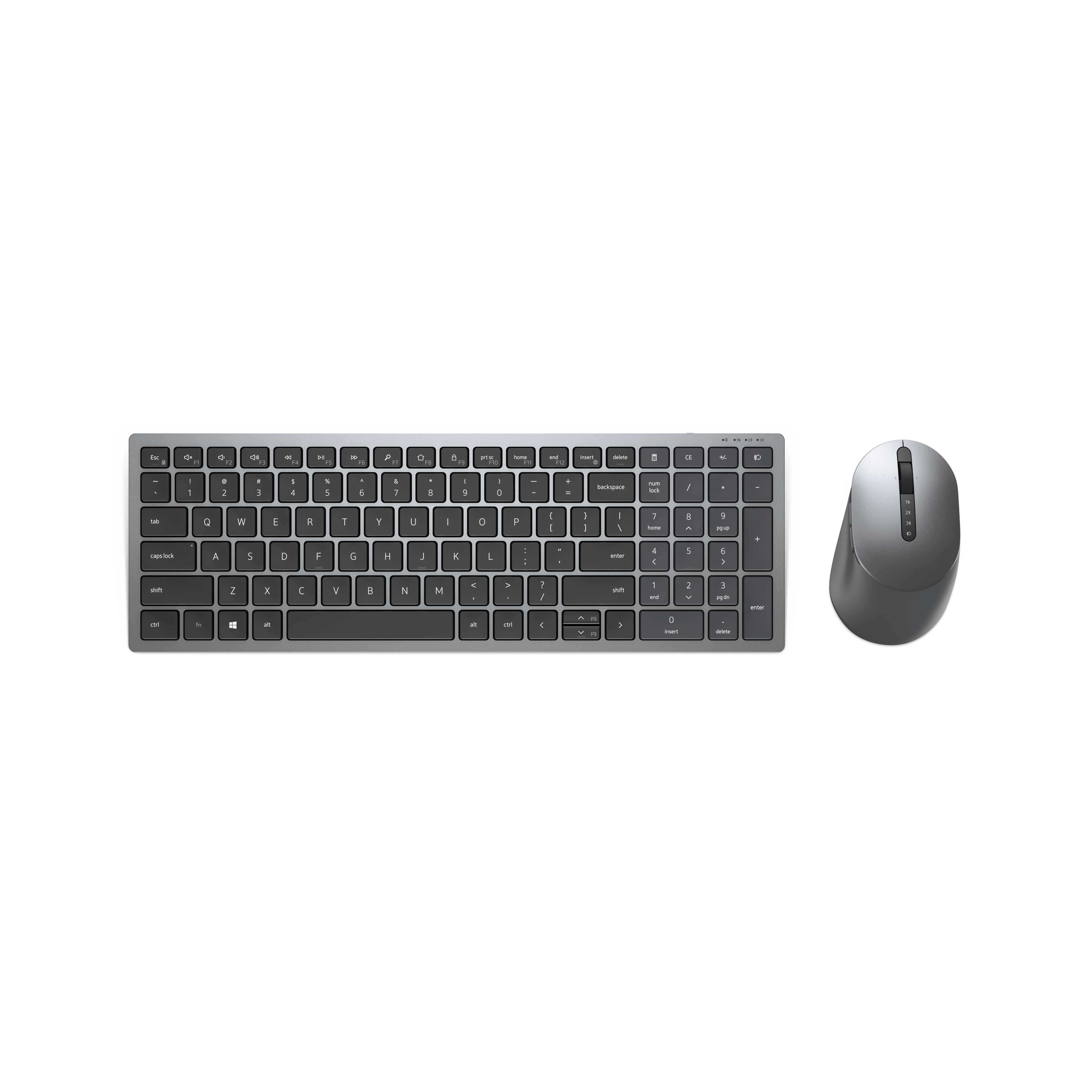 DELL KM7120W toetsenbord RF-draadloos + Bluetooth QWERTY Grijs, Titanium