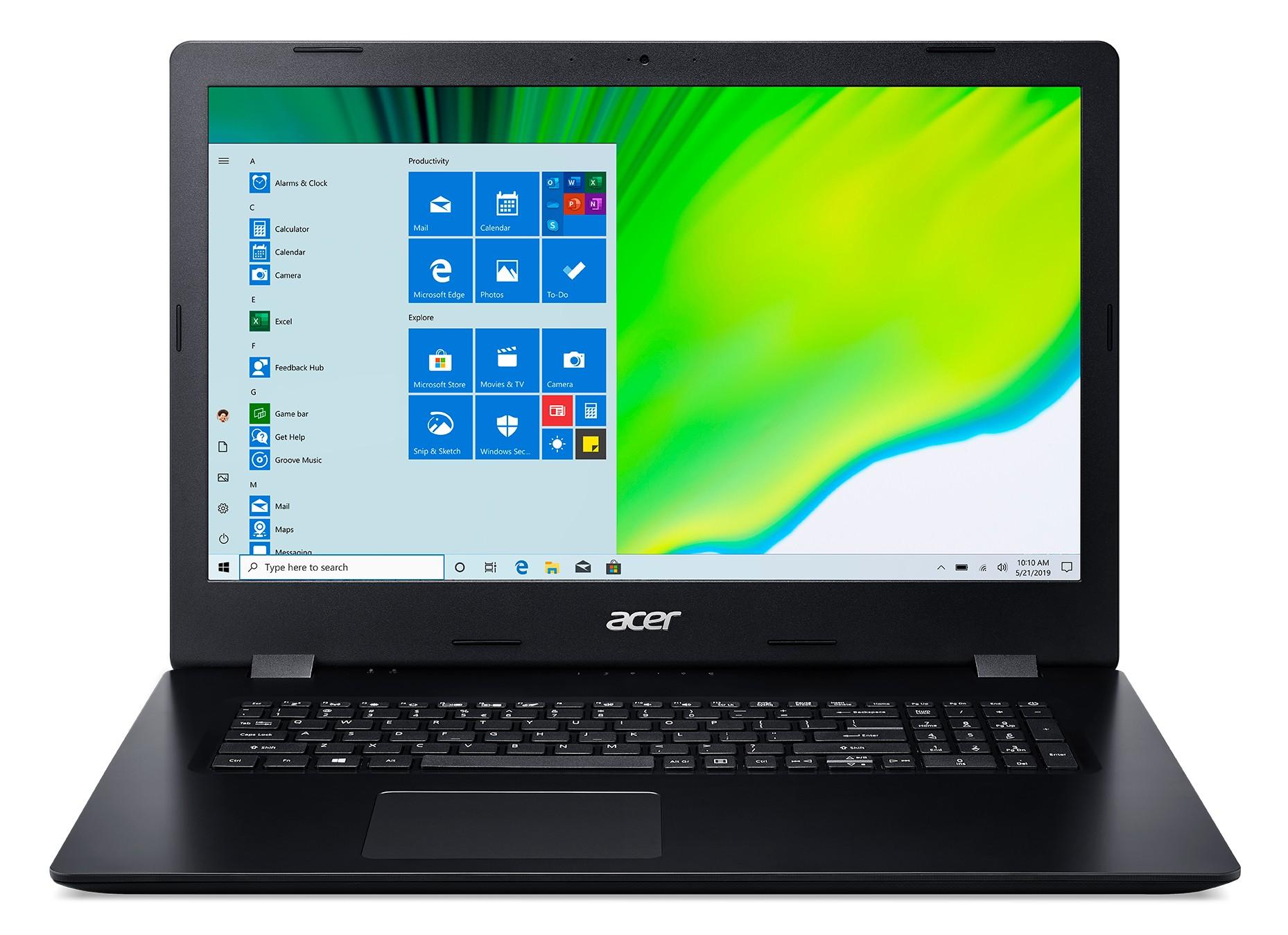 "Acer Aspire 3 A317-52-32T5 Notebook 43,9 cm (17.3"") 1600 x 900 Pixels Intel® 10de generatie Core™ i3 8 GB DDR4-SDRAM 256 GB SSD Wi-Fi 5 (802.11ac) Windows 10 Pro Zwart"