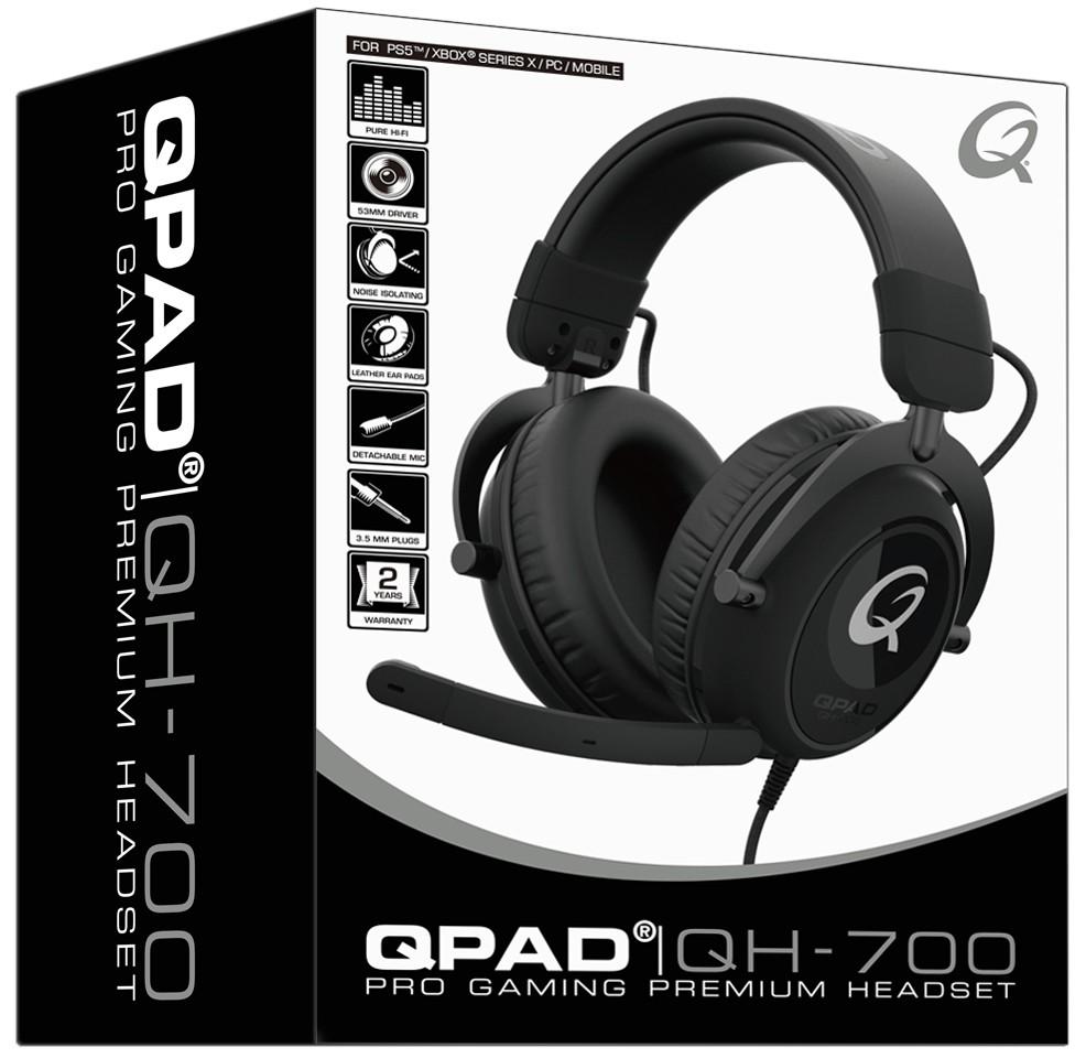 QPAD QH700 hoofdtelefoon/headset Hoofdband 3,5mm-connector Zwart