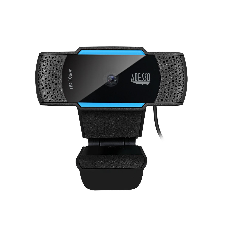 Adesso CyberTrack H5 webcam 2,1 MP 1920 x 1080 Pixels USB 2.0 Zwart, Blauw