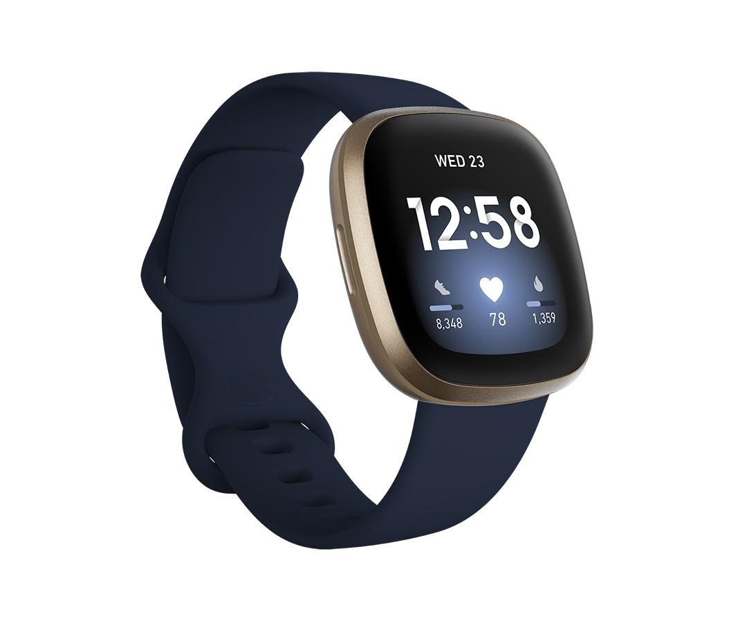 Fitbit Versa 3 40 mm AMOLED Blauw, Goud GPS
