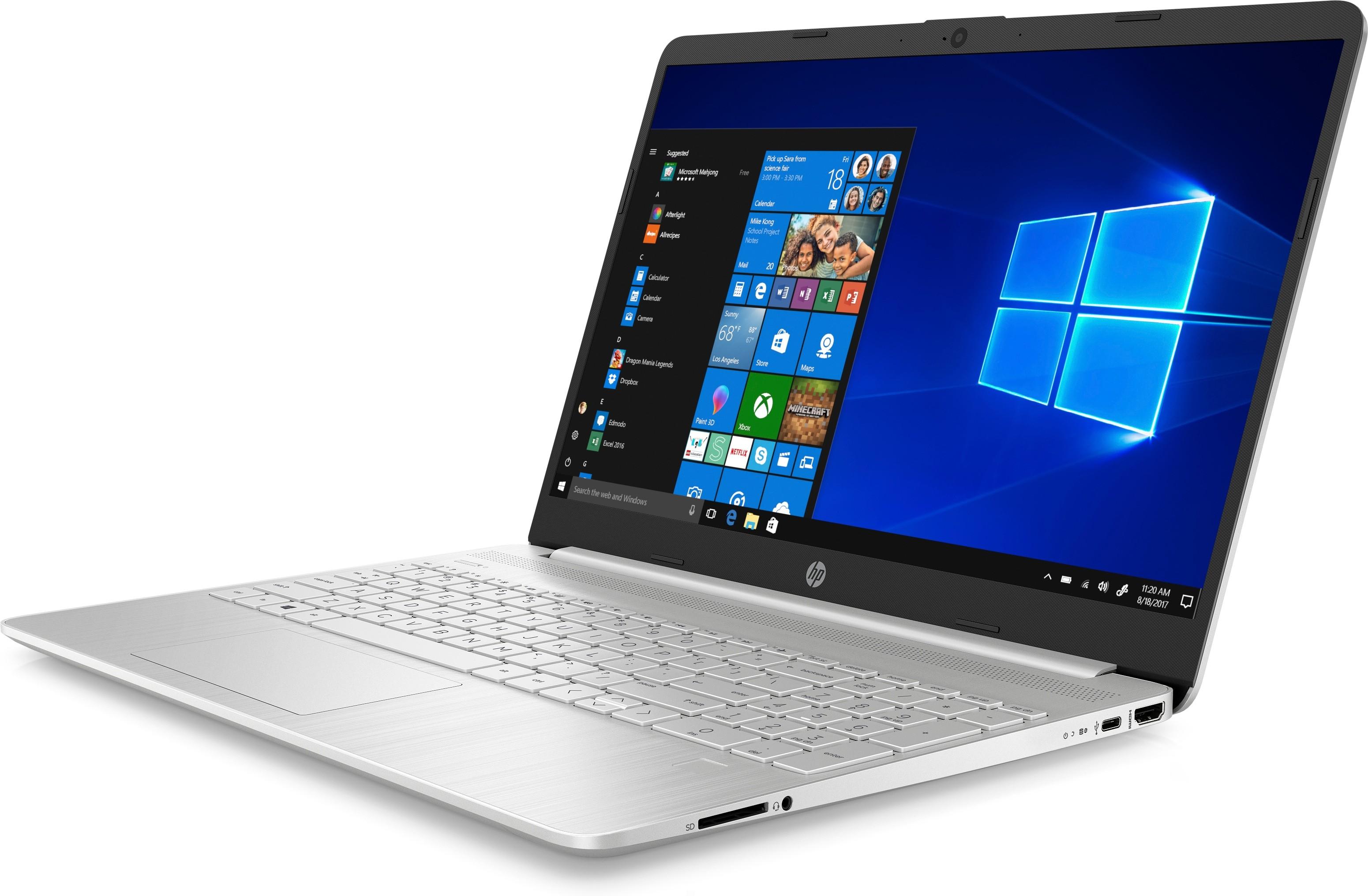 "HP 15s-fq1008nd DDR4-SDRAM Notebook 39,6 cm (15.6"") 1920 x 1080 Pixels Intel® 10de generatie Core™ i3 4 GB 128 GB SSD Wi-Fi 5 (802.11ac) Windows 10 Home S Zilver"