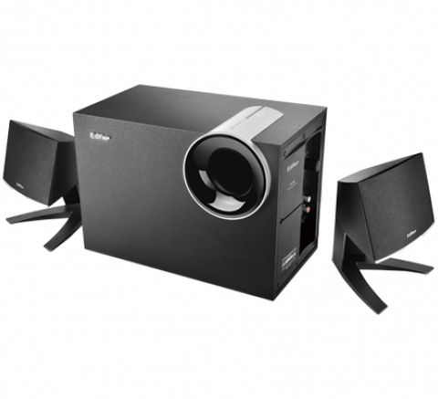 M1380-B\Entry-Level 2.1 Multimedia Speaker System\Wooden Subwoofer\28W RMS\Wired Volume Control\Black