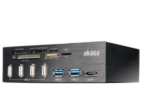 Akasa InterConnect Pro geheugenkaartlezer Zwart USB 2.0/eSATA