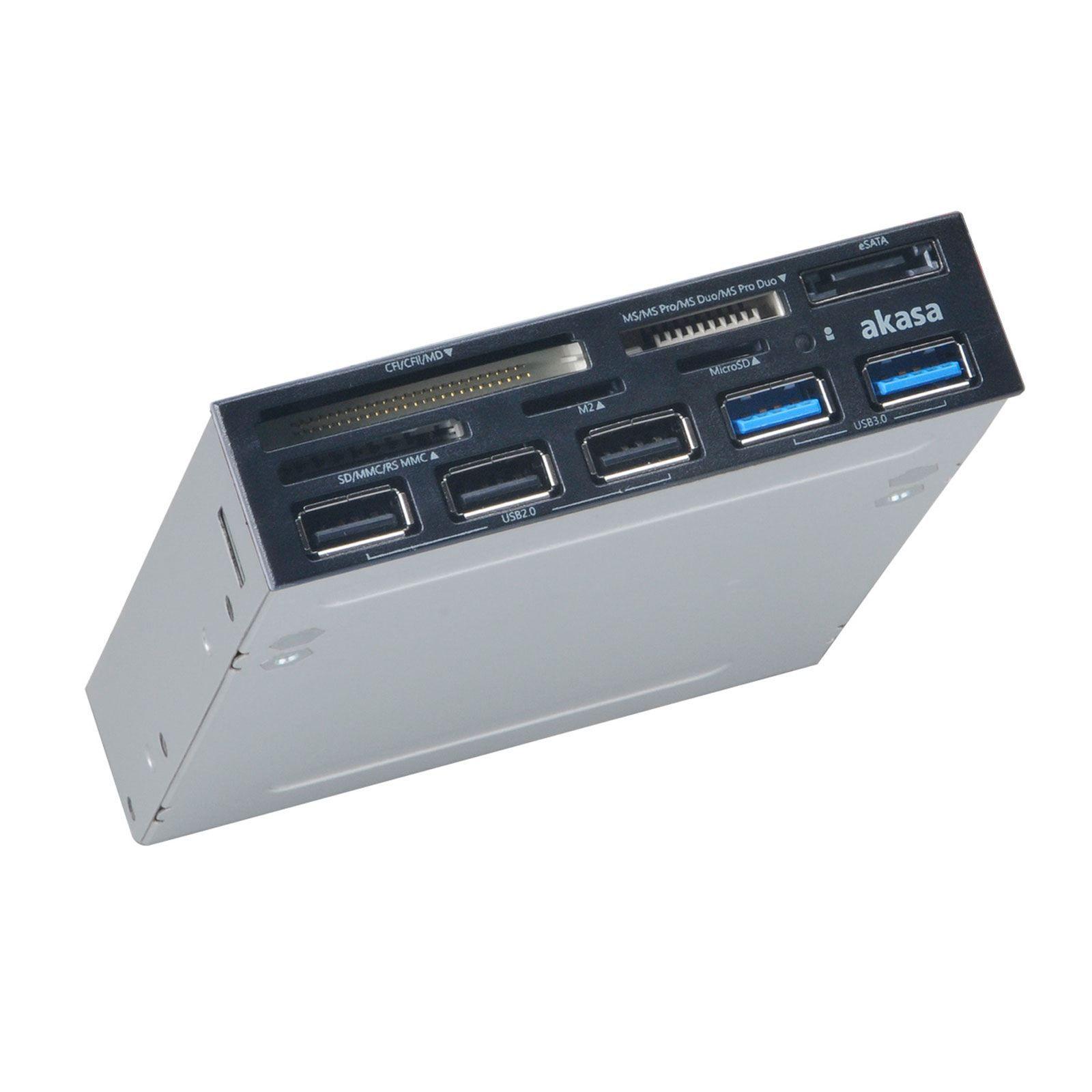 Akasa AK-ICR-16 geheugenkaartlezer Intern Grijs USB 3.2 Gen 1 (3.1 Gen 1)