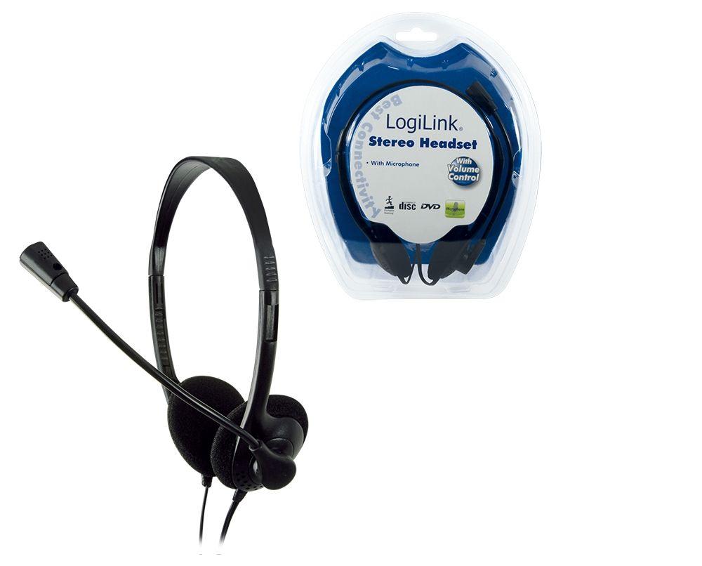 LogiLink Stereo Headset Earphones with Microphone Hoofdband Zwart