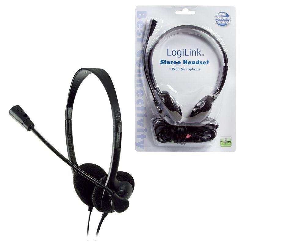 LogiLink Stereo Headset Earphones with Microphone Zwart