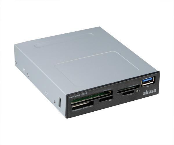 Akasa AK-ICR-27 geheugenkaartlezer Intern Zwart, Grijs USB 3.2 Gen 1 (3.1 Gen 1)
