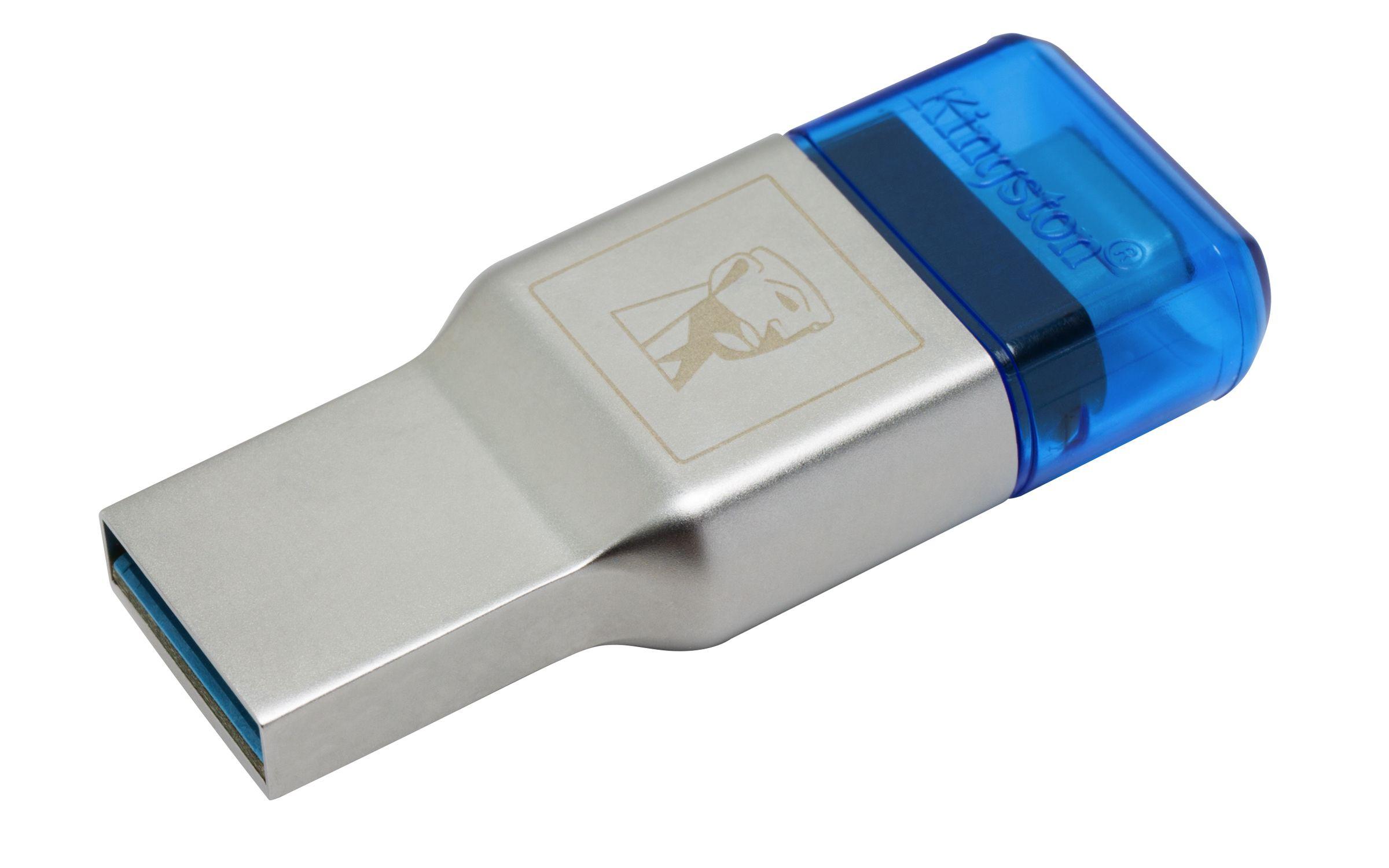 Kingston Technology MobileLite Duo 3C geheugenkaartlezer Blauw, Zilver USB 3.2 Gen 1 (3.1 Gen 1) Type-A/Type-C