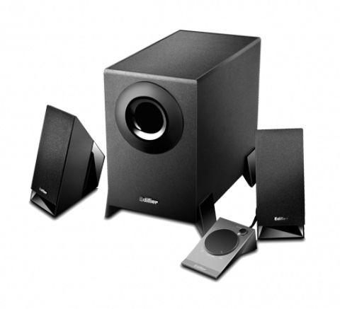 M1360-B\Entry-Level 2.1 Multimedia Speaker System\Wooden Subwoofer\8.5W RMS\Wired Control For Mute Volume And Build In Headphone Jack\Black